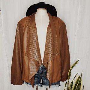 • PAMELA MCCOY • brown leather jacket